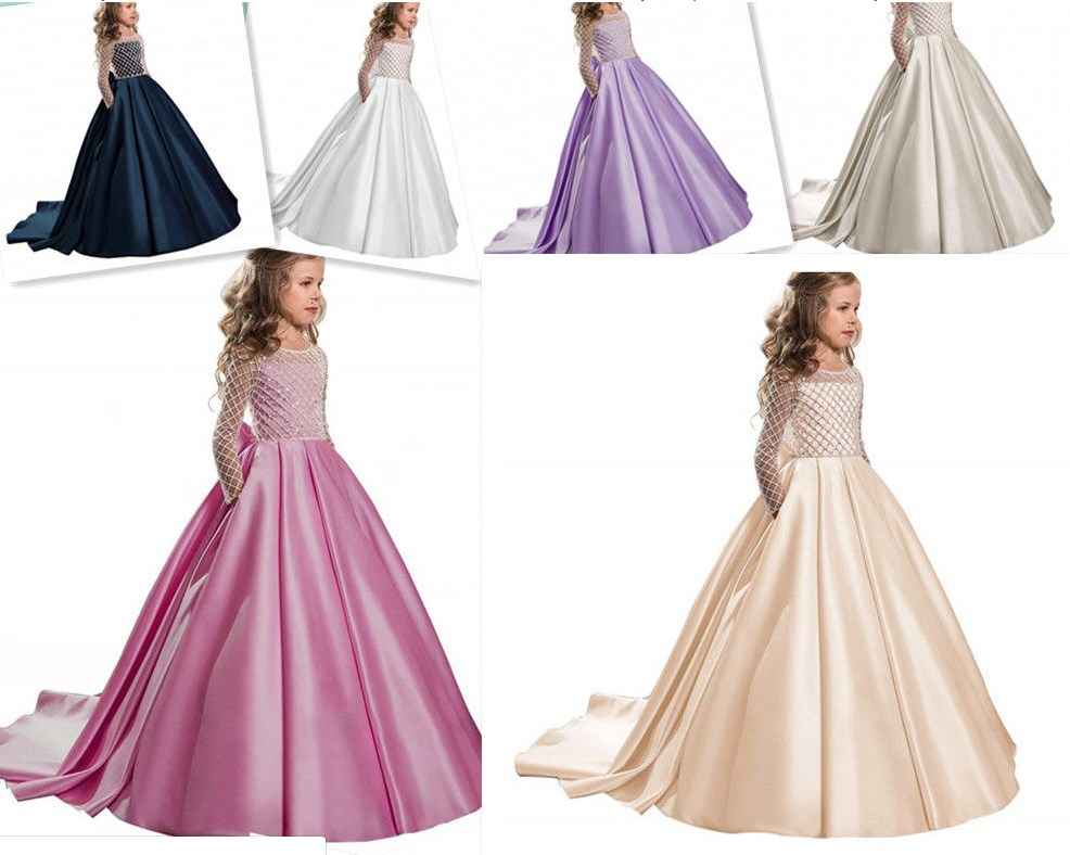 New Customized High Quality Flower Girl Dress with Long Sleeves Ball Gown Kids Birthday Dresses First Communion Gown with RibbonNew Customized High Quality Flower Girl Dress with Long Sleeves Ball Gown Kids Birthday Dresses First Communion Gown with Ribbon