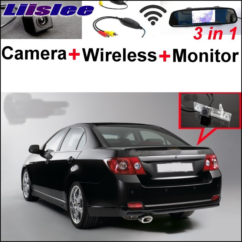 Liilsee 3in1 Special Rear View Camera + Wireless Receiver + Mirror Monitor Parking System For Chevrolet Aveo Captiva Epica Lova 3 in1 special rear view camera wireless receiver mirror monitor back up parking system for citroen ds3 ds 3 2009 2015