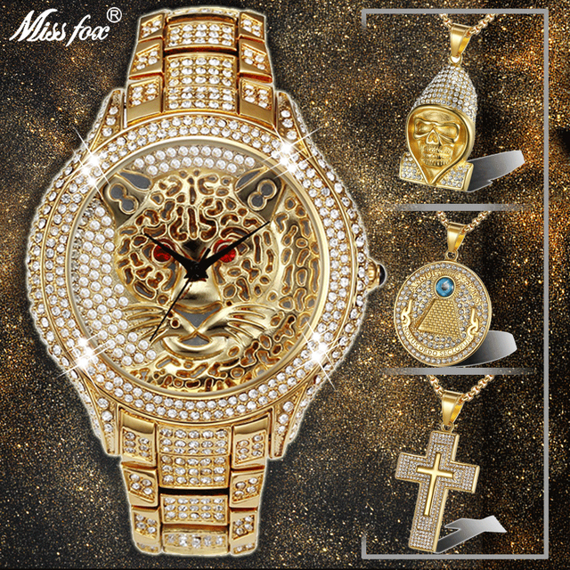 Hip Hop Iced Out Full AAA Cubic Zirconia Tiger Luxury Mens Watches Cross & Skull & Eye of Provi Dence Crystal Pendant Combo Set