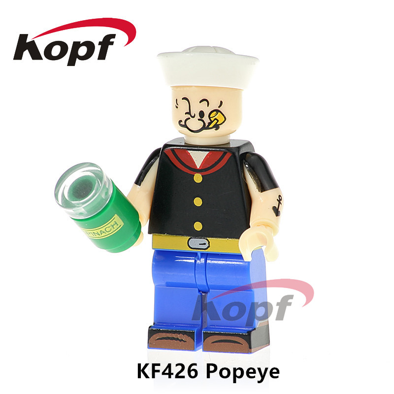 KF426 Super Heroes Building Blocks Popeye Bob Ross Freddie Mercry Scarface Grunge Icon Bricks Action Gift Dolls For Children single sale building blocks super heroes bob ross american painter the joy of painting bricks education toys children gift kf982