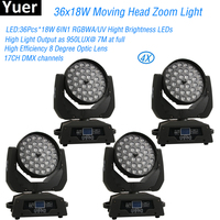 LED 36X18W Moving Head Zoom Disco Light Super Brightness LED RGBWA/UV 6IN1 LED Effect Stage Lighting For DJ Club Nightclub Party