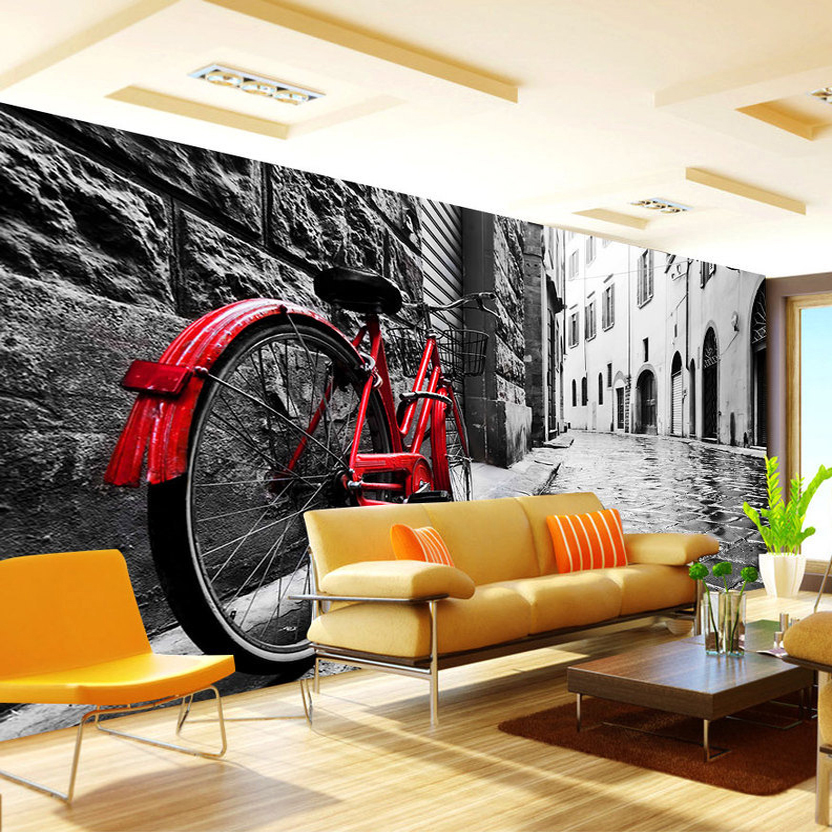 Custom 3D Wallpaper Retro Street View Bikes Black And
