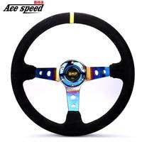 350mm Steering Wheel OMP Suede Leather Deep concave Steering Wheel Game Steering Wheel Neochrome
