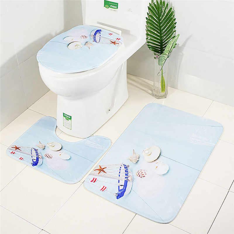 3 шт./компл. фланель печати Нескользящие Туалет Ванная комната подстилка, напольный коврик ковры абсорбент стойка для тряпок крышка для унитаза коврики