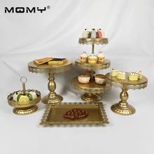 5Pcs/Set Gold/White/Pink Crystal Metal Cupcake Serving Stand Display Rack Birthday Party Wedding Decoration