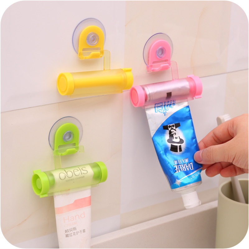 2 Pcs Rolling Toothpaste Squeeze Press Bathroom Tube With Strong Suction Cup Storage Hook Organizer Holder Random Color