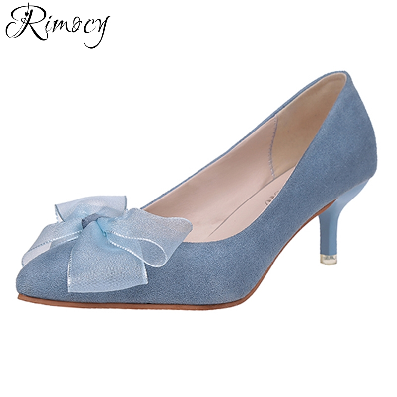 Rimocy sweet bowknot pink blue women's pumps 2018 spring summer thin high heels slip on shoes woman daily working solid sandals рюкзак hama sweet owl pink blue