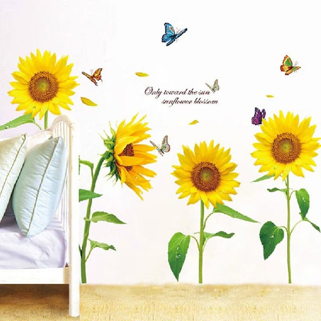 tilted head sunflower wall stickers removable wall sticker bedroom