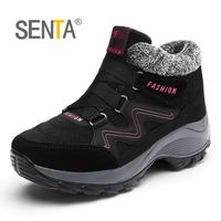 SENTA Women Cotton padded Shoes Non slip Waterproof Snow Boots Winter Ankle Keep Warm Sport Shoes Outdoor Comfort Heighten Shoes