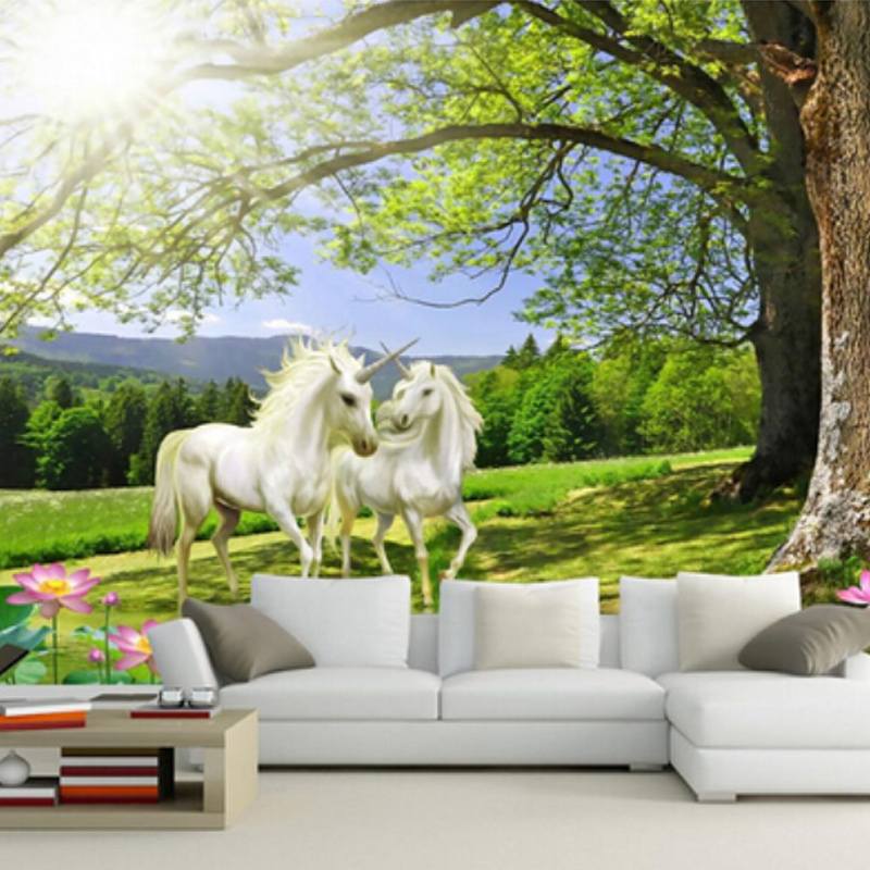 Custom Mural 3D Horse Natural Scene Wall Paper Roll Moisture Protection Papel De Parede Home Decor Wallpapers Living Room Murals