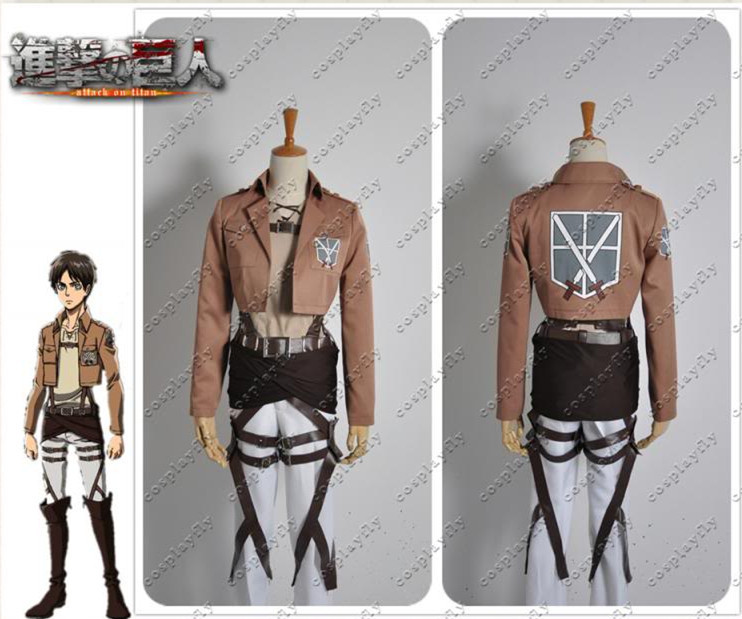 Attack on Titan Shingeki no Kyojin Eren Jager Cosplay Costume Adult Men Outfit Clothing Christmas