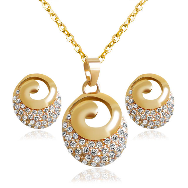F&U Romantic Style Gold Color Whirl Shaped with Charm Crystal Pendant Necklace and Earrings Fashion Jewelry Set S003