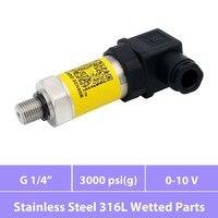 0 3000 psi range, 0V to 10V signal, diffuse silicon pressure sensor, 12V 24V 30V excitation, thread G1 4, ss 316L wetted parts