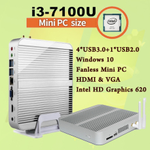 Mini PC [7e Поколения Intel Core i3 7100U] 4 К HDMI и VGA 2017 Кабы Lac лучший Windows 10 2.4 ГГц Ordinateur HTPC Intel HD Graphics 620