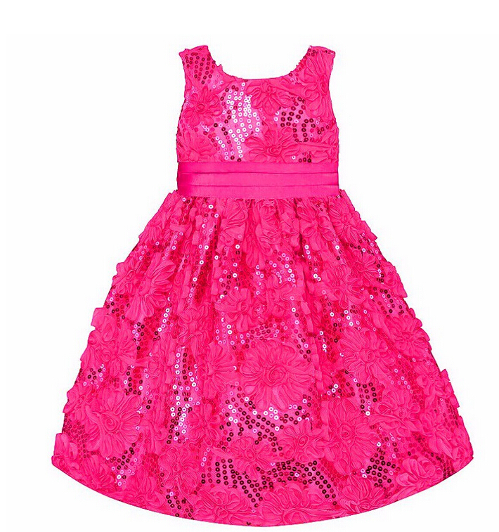 Special Offer Baby christmas girl flower dress Girl Sleeveless roses sequins Knee Length Birthday party princess dress clearance