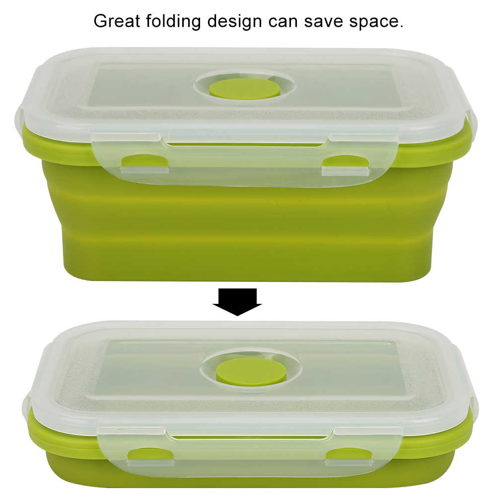 Silicone Folding Food Storage Container Sealed Collapsible Box 500ml Sustainable Free Food Storage For Outdoor Camping Pinic