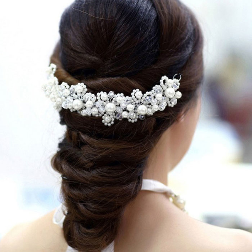Fashion Treasure Town Hot 1pc Han edition hair White pearl crystal bride headdress by hand Wedding dress accessories bridal hair jewelry