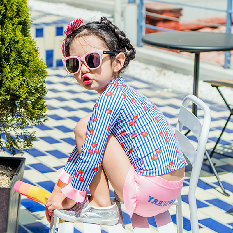 Child Swimwear Girl Junior Girls Swimsuit Baby Clothes Kids Summer 2018 Flowers Printing Lovely Princess Skirt Children Swimming