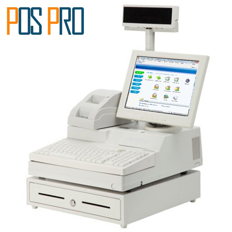 IPOS06 12.1 inch TFT LCD Monitor Cash Register All in one POS System with printer VFD Cash drawer for Supermarket Clothing Shop