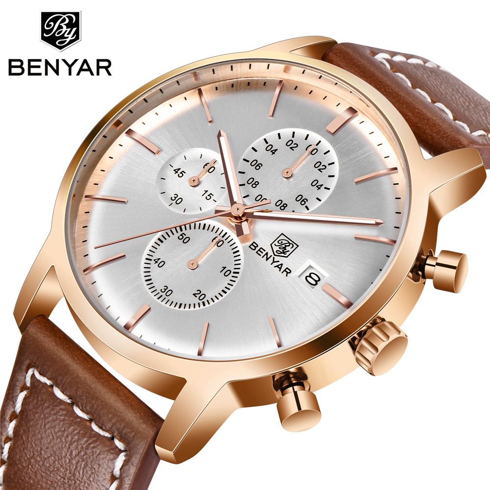BENYAR Mens Watches Chronograph Military Sports Top-Brand Luxury Business-Fashion Reloj Hombre