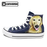 Blau Converse All Star Haustier Hund Golden Retriever Original Design Kundenspezifische Handgemalte High Top Leinwand Turnschuhe Geburtstagsgeschenke