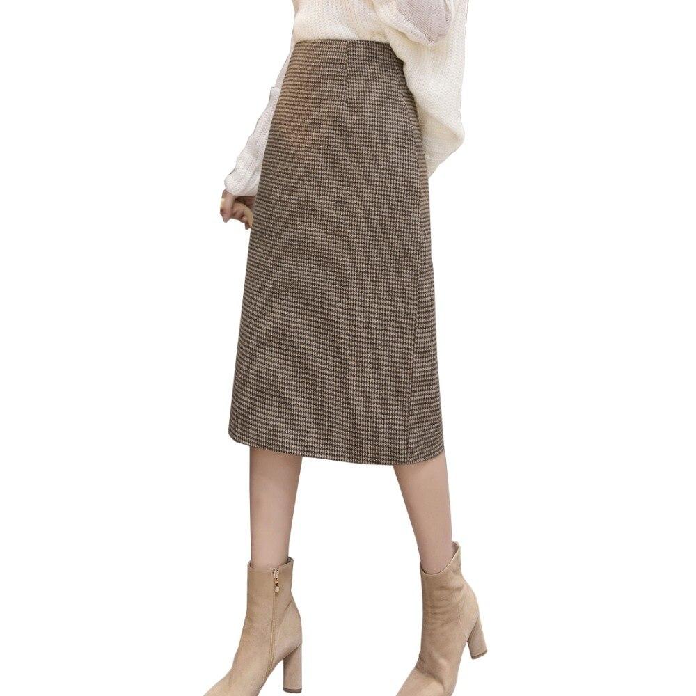 Korean Plaid Woolen Skirt Women 2019 Autumn Winter Vintage High Waist Split Knee Length Skirts Lady OL Office Work Jupe Femme