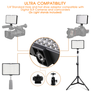Image 4 - Travor 2in1 TL 160 Led Video Light kit with 78 inch light stand 3200K/5500K LED Camera Camcorder Video Light Panel with Battery