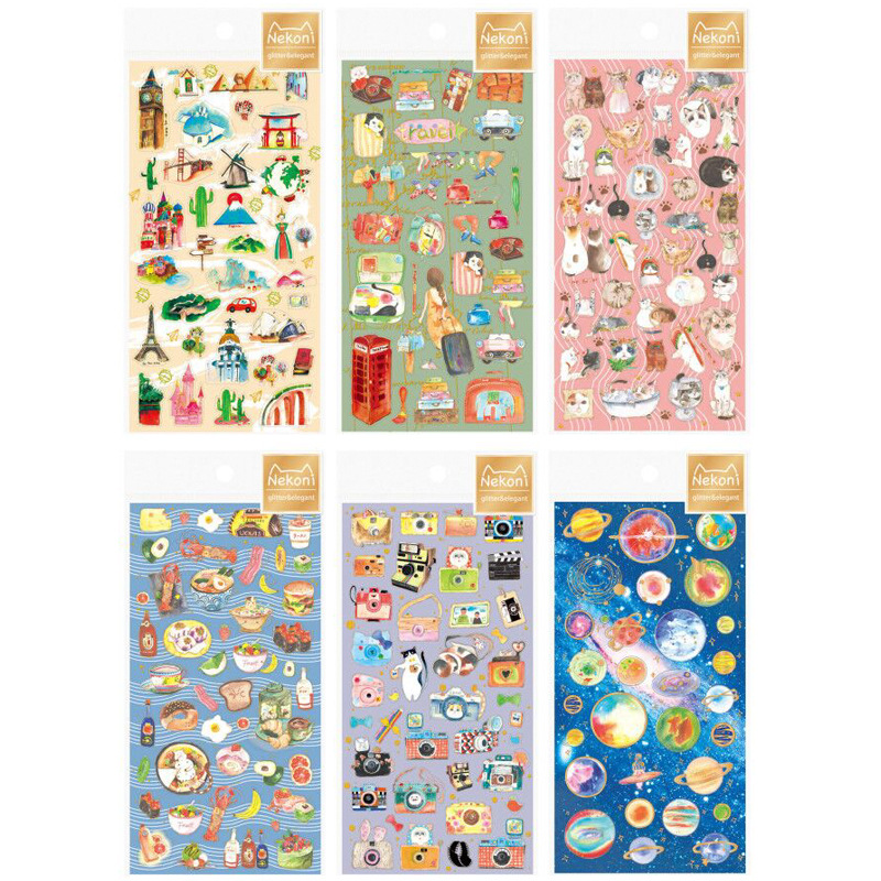 1 pcs Colorful Creative Planet Cats Decorative Stickers For Phone Diary Sticker Scrapbook Decoration PVC Stationery Stickers 8 pcs lot funny sticker cute bear penguin cat decorative adhesive for diary letter scrapbook school supplies stationery