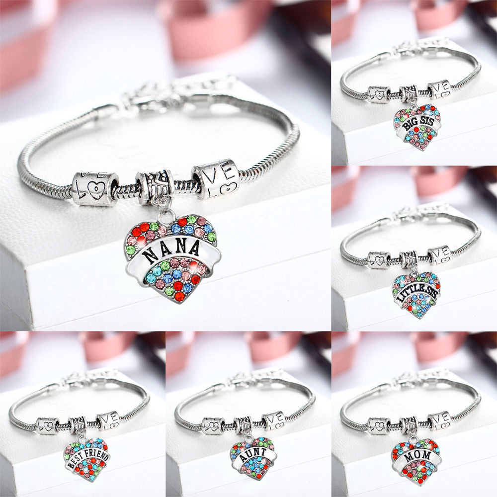 Colored alloy LOVE Heart crystal charms family bracelets&bangles ...