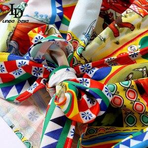 Image 5 - Ldリンダデラ滑走路デザイナーカジュアル休日休暇ショーツセット女性の長袖プリントブラウス + ショーツ二枚セットスーツ