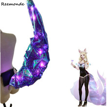 Game LOL KDA Ahri Tails Idol Singer New Skin Cosplay Blue Pink Purple Light Tails Shiny Nine Tailed Fox Ahri Anime Props Party