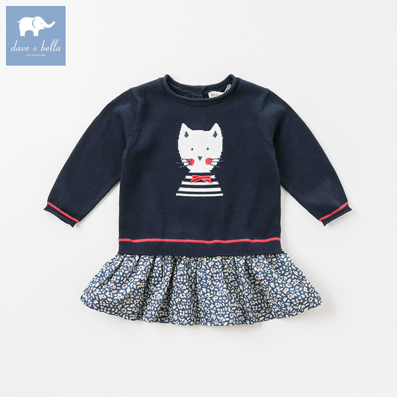 DB8710 dave bella autumn baby knit dress girls mini dress children party birthday clothing infant toddler floral clothes db7266 dave bella baby dress girls infant toddler clothing children birthday party clothes kids summer lolita dress