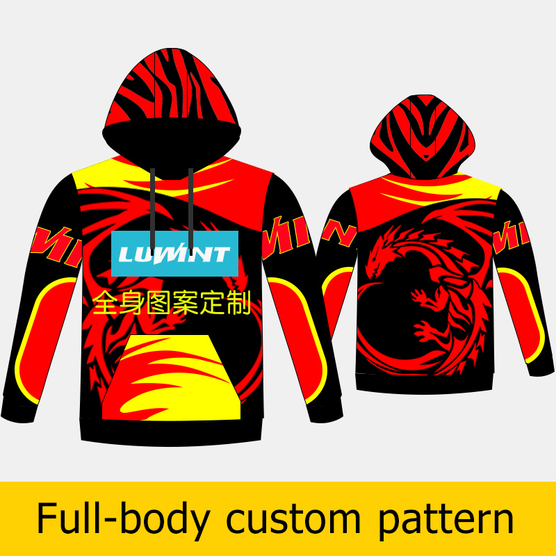 US $19 5 |Custom Oem Printed sports Hoodies Sweatshirts Sublimation print  color will never be washed off Sports quick drying fabric-in Trainning &