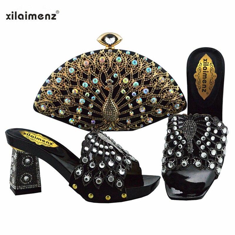 Ensembles de chaussures et de sacs nigérians 2019 vente chaude de chaussures et sacs africains pour assortir les chaussures avec un sac de couleur argent