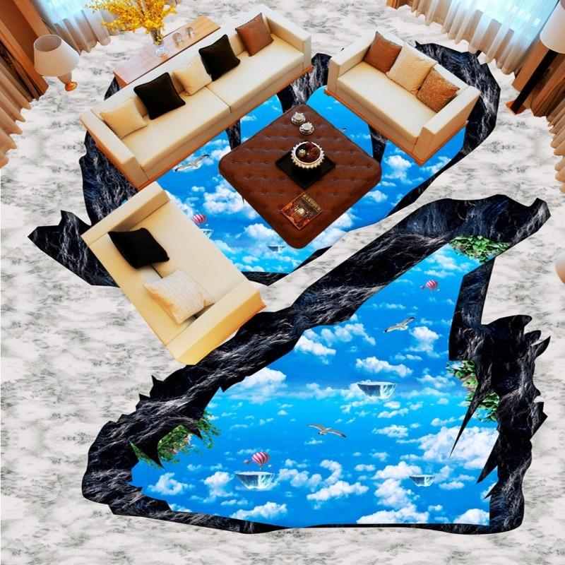 Free shipping Cliff Stereo Sky Bathroom Kitchen Living Room bedroom Shopping Arcade custom flooring 3d wallpaper barber mural blue earth cosmic sky zenith living room ceiling murals 3d wallpaper the living room bedroom study paper 3d wallpaper