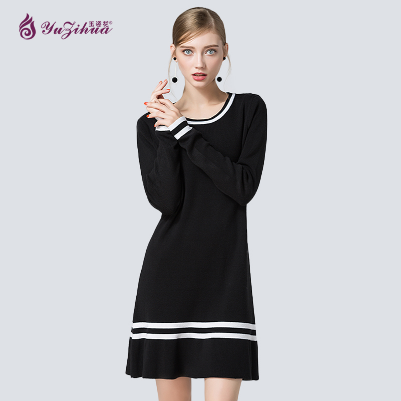 Woman Sweater Pullovers Long Sleeve Knitted Sweater New High Waist Flounce Hem Elastic Soft Thick Dress Round Neck Pullovers