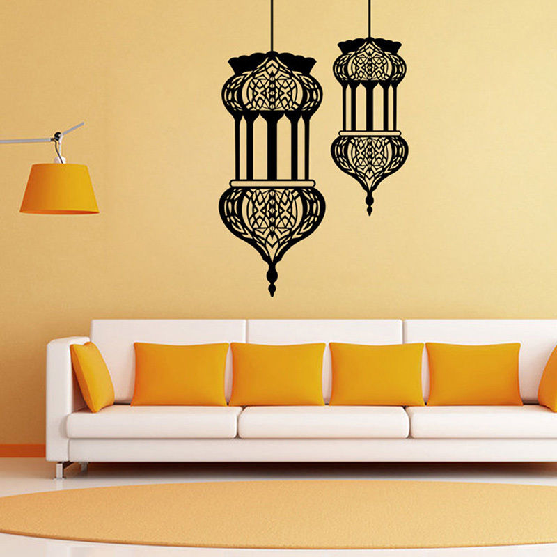 Islamic Lantern Wall Decals Muslim Culture Vinyl Removable Interior Home Decor Living Room Bedroom Art Mural Design Decal SYY467 interior design