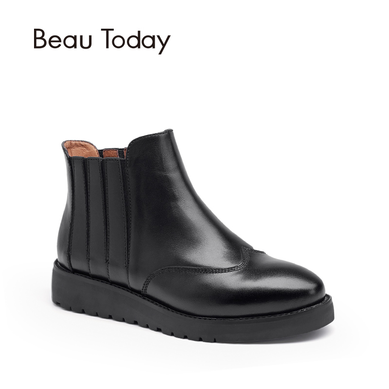 Beau Today Genuine Leather Chelsea Boots Women Elastic Ankle Shoes Round Toe Casual Office Lady Boot 05007 elastic band women genuine leather ankle boots chelsea hand made shoes motorcycle coincise fashion black matte women s boots