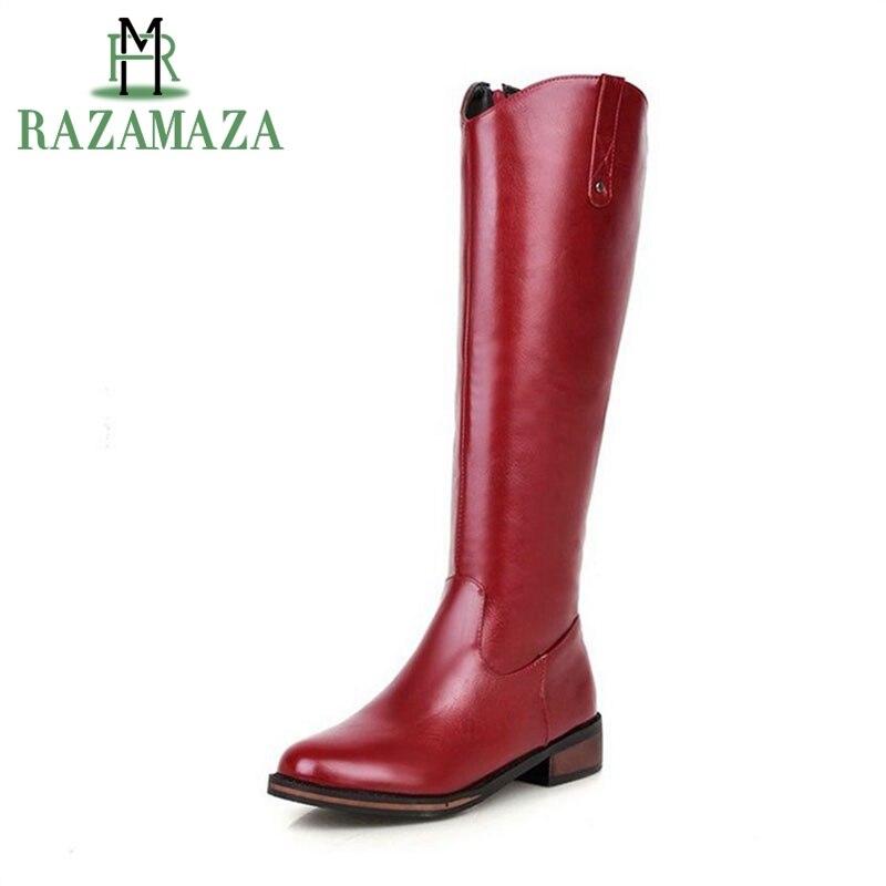 RAZAMAZA Tamanho 32-43 Novo Gladiador Sapatas Das Senhoras Sapatos de Inverno Quente Botas Até o Joelho Moda Feminina Botas Flats Sapatos Woamn Zíper Botas cavaleiro