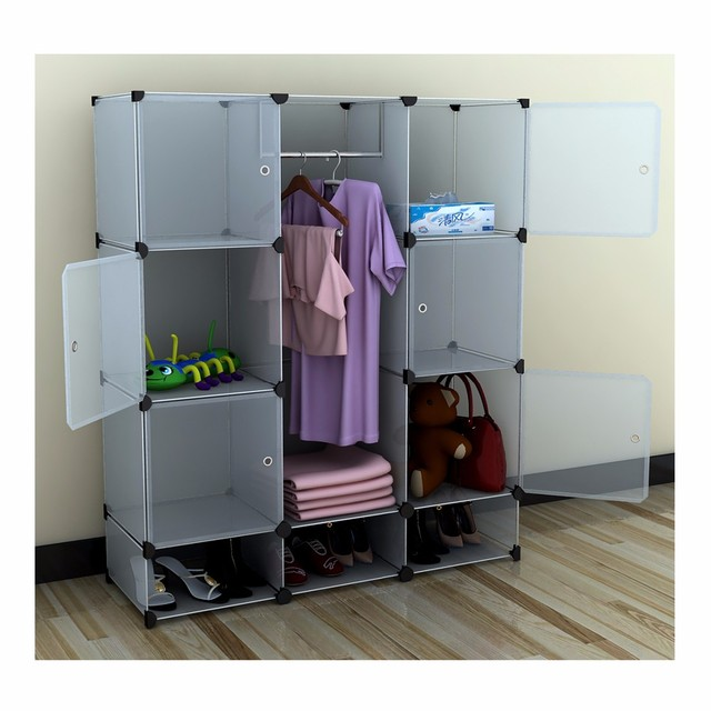 US Stock Portable Extra Wide Modular Storage Clothes Closet Organizer W/ 6  Enclosed Cubes Cloth