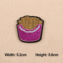 1PC Patches For Clothing Giltter Fries Embroidery 5.2×5.6cm Patches For Apparel Bag DIY Accessories