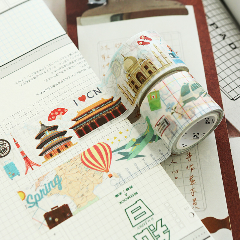 30mm X 7m Travel Series City Map Washi Tapes DIY Decoration Tape Scrapbooking Planner Tape Office Adhesive Tape Stationery JD36