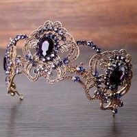 Top Elegant Purple Crystal Baroque Vintage Queen King Tiara Crown Bridal Prom Headpiece Wedding Bride Hair