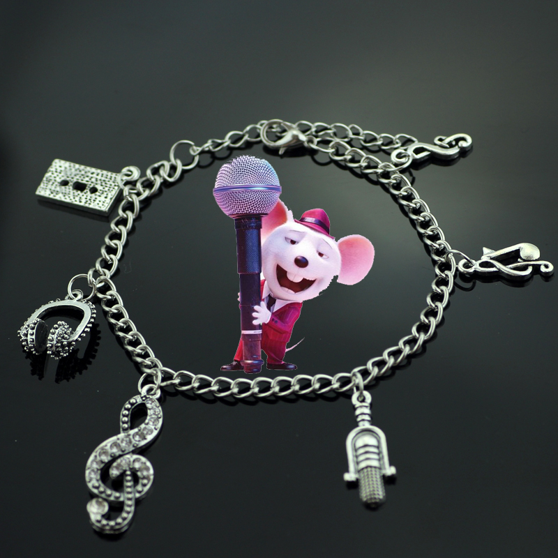 Animated Movie Sing Bracelet with Headphones Microphone Charm Bracelet Vintage Jewelry Jazz Bracelet Musician Singer Singing ...