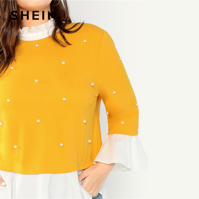SHEIN Pearl Beaded Ruffle Stand Collar Butterfly Sleeve Ginger Plus Size Womens Blouse 2018 Patchwork Ruffle Hem Autumn Blouse 4