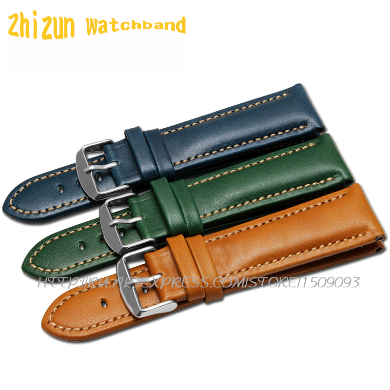 Top Fashion New Arrival Soft Durable genuine cowhide Leather Men Women Watch Strap 18mm 20mm 22mm Rich color watchband