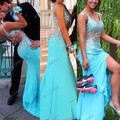 Abendkleider Prom Vestidos Longos 2016 Vestidos de Noite de Cristal Sereia Chiffon V Neck Side Slit Vestido de Céu Azul