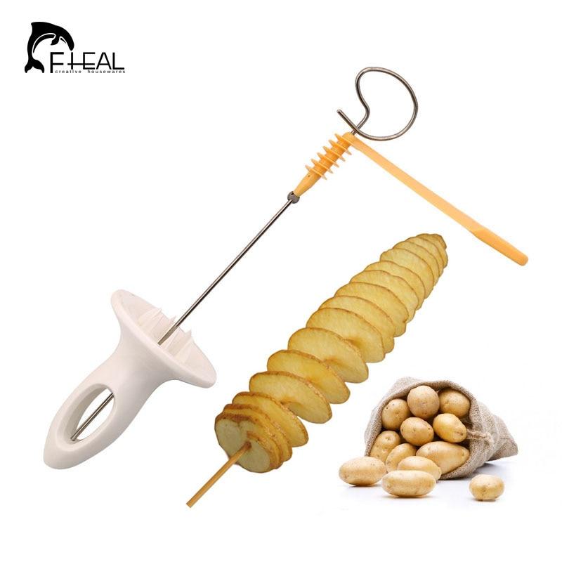 FHEAL Tornado Potato Spiral Cutter Slicer Potato Chips PRESTO 4spits Potato Tower Making Twist Shredder Kitchen Tools