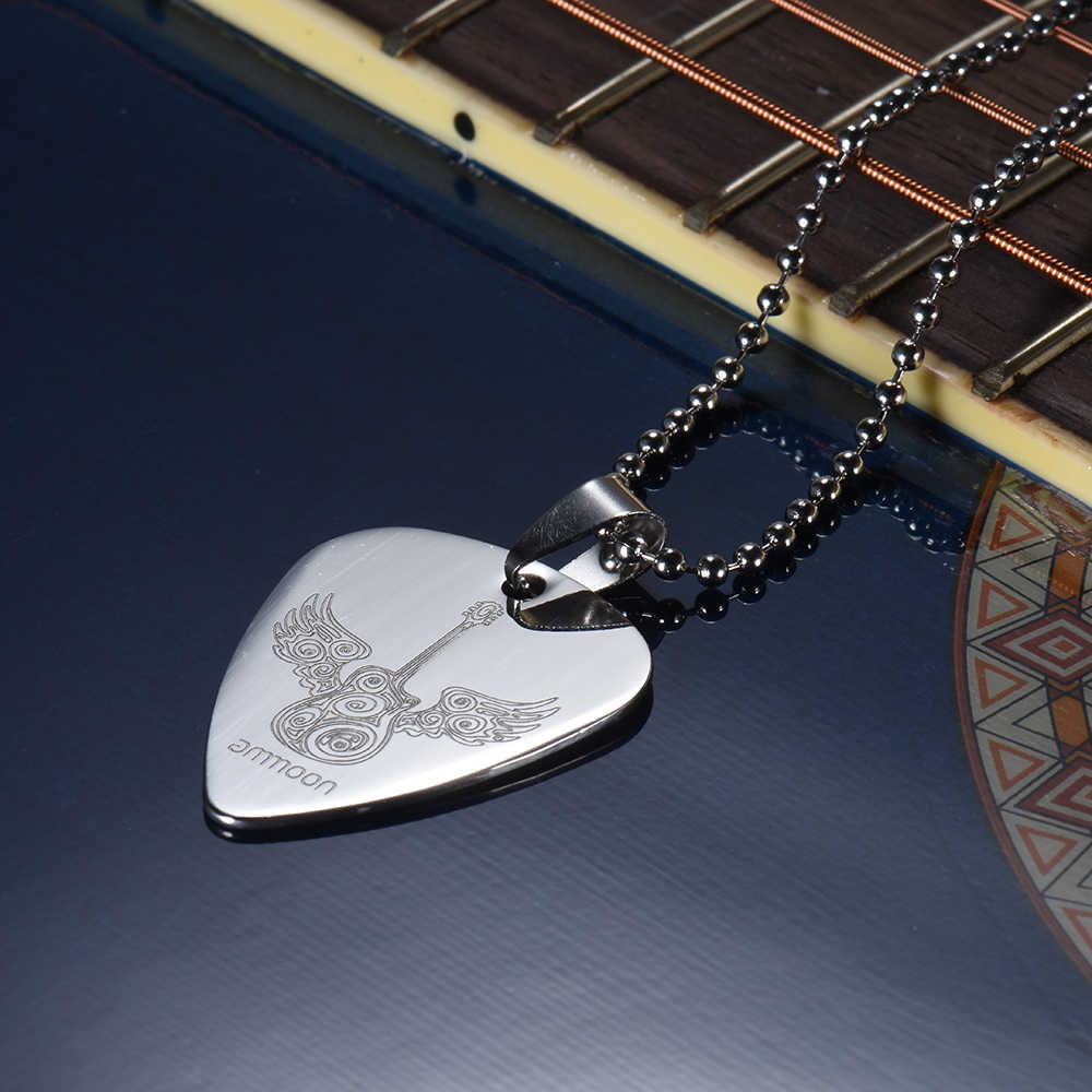 Guitar Pick Necklace with 50cm/20in Ball Chain Silver Color High Quality Stainless Steel Guitar Parts and Accessories