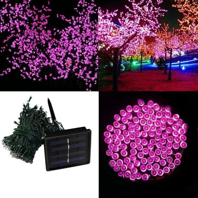 Levou ao ar livre luz solar 200 LEDs 20 M LED Cordas painéis solares alimentado com bateria recarregável para a Festa de Natal do Feriado Deco